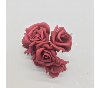 Головки роз на проволке, 72 шт. 3 см. бордо, 02947